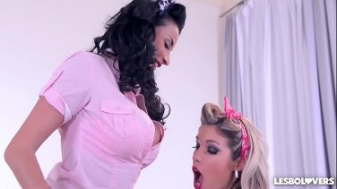 blonde lesbian lovers spend some hot time together